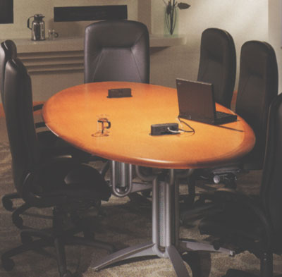 An Open Feeling Is Acheived By Specifying Vela Bases And A Light Wood Oval  Top. The Curves Of The Base And Top Combine To Create A Conference Table  That ...